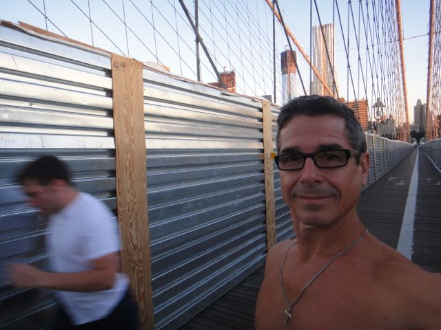 hill training on Brooklyn Bridge
