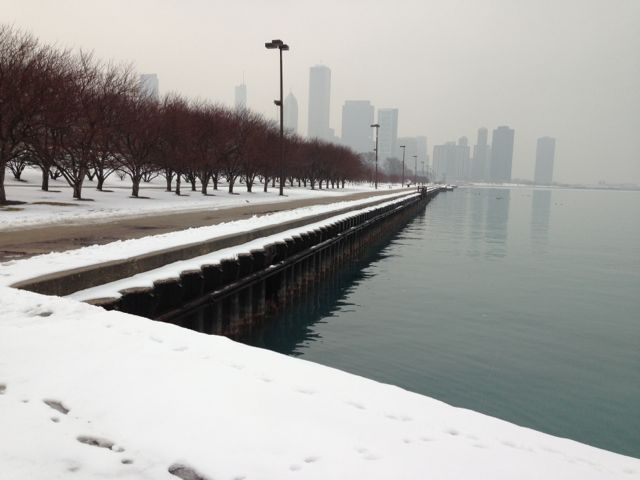 Chicago winter lake front skyline