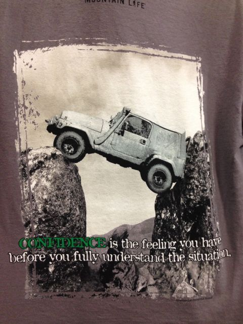 clever saying in Lake Tahoe tee shirt shop
