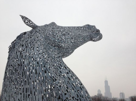 Metal horse sculpture in Chicago