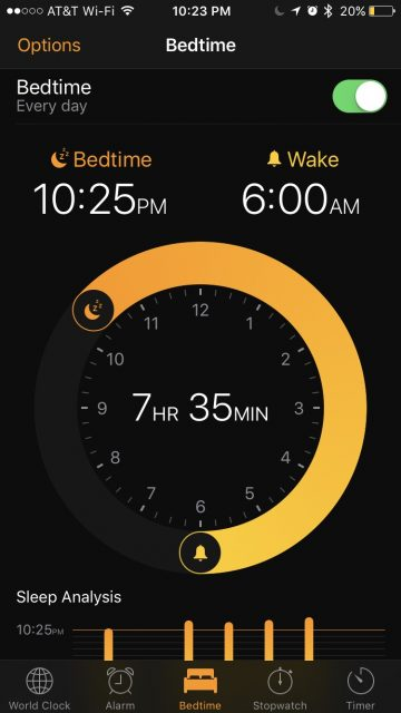 sleep counter on iPhone app