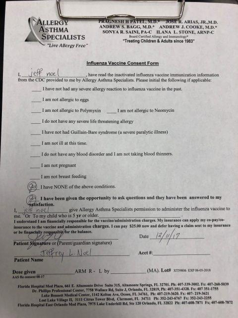 flu shot agreement