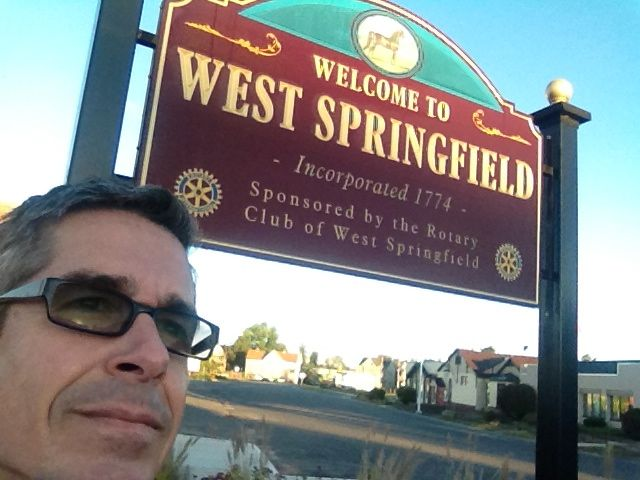 The sunrise is just beginning to touch the West Springfield sign...