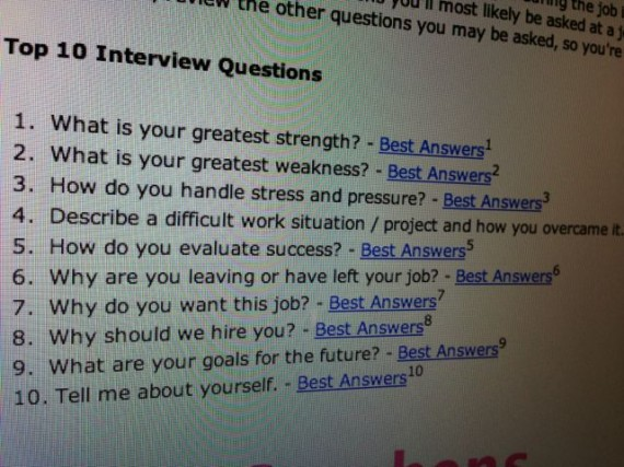 List of top 10 interview questions