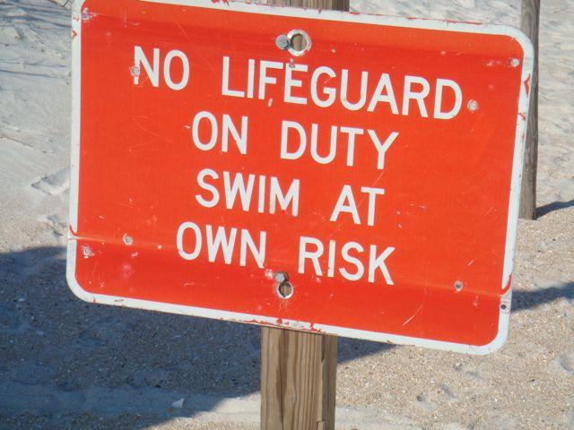 photo of , No Lifeguard sign at Florida Beach