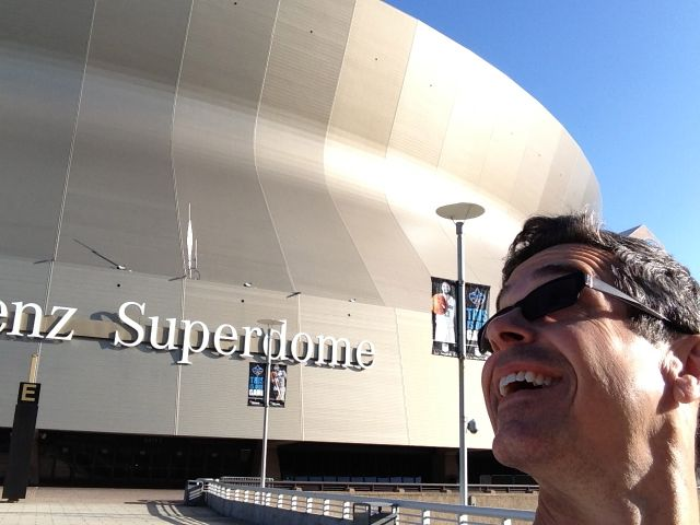 jeff noel in front of the Superdome
