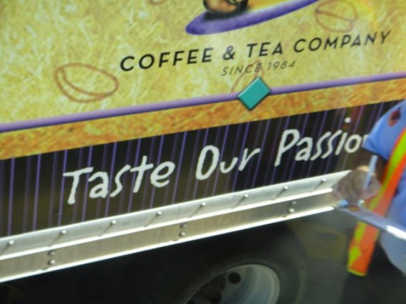 tea company delivery truck tag line