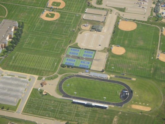 Sports complex from jet plane