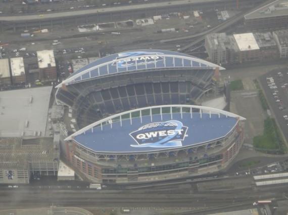 Seattle Washington stadium from the air