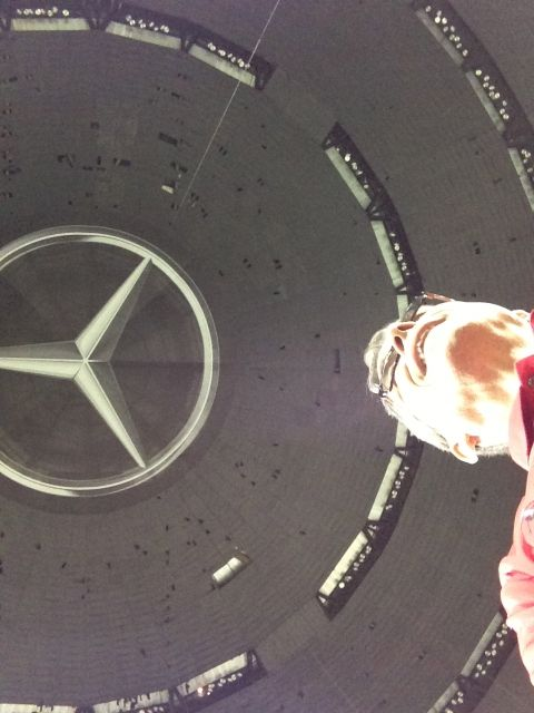 Dead center midfield on the Super Dome floor, looking straight up