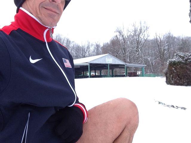 jeff noel, masters runner, in the snow