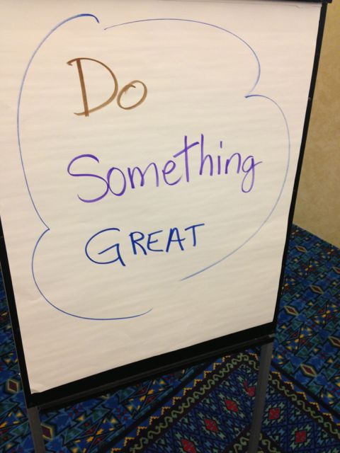 Flip chart with inspirational message