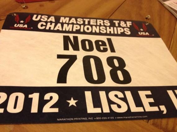 Masters Track athlete bib number