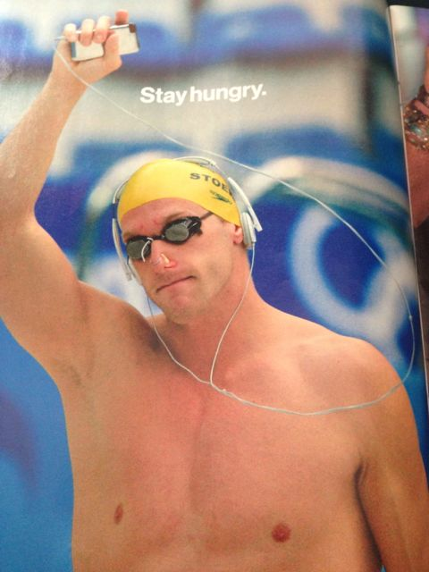 Swimmer with iPod