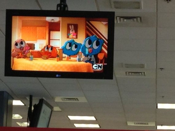 Watching Cartoon Network at airport