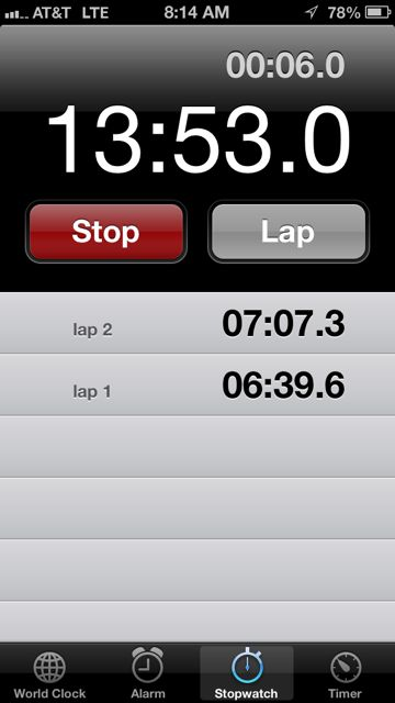 iPhone screen shot of 5k mile splits