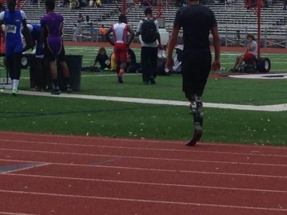 Double leg amputee teenage High School 100m sprinter