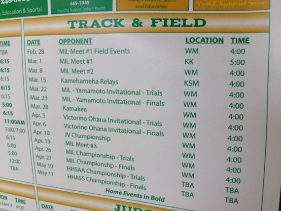 Hana, Hawaii High School 2013 Track & Field Schedule