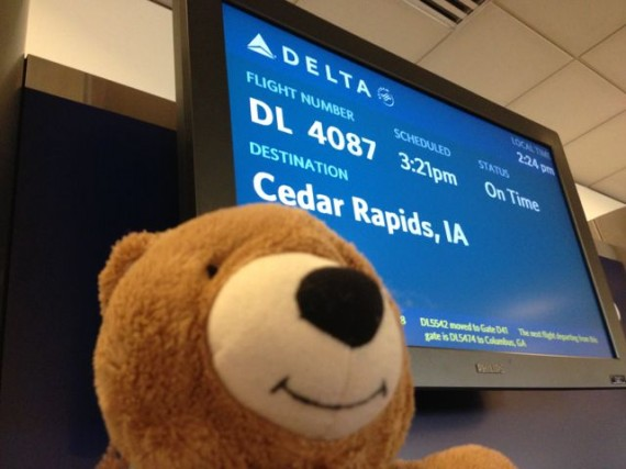 Teddy Bear at Delta Gate sign