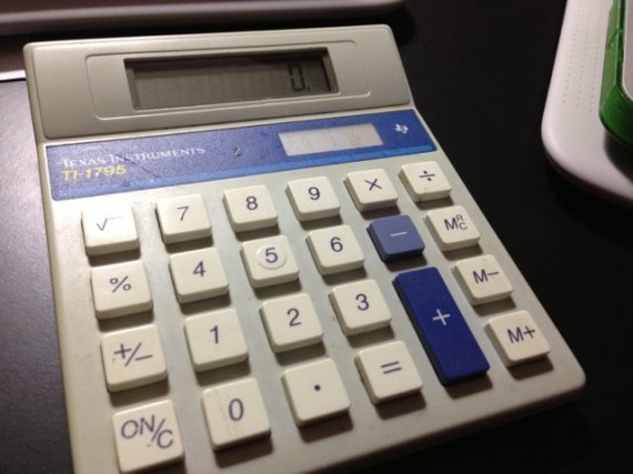 Old fashioned calculator from the 1990's