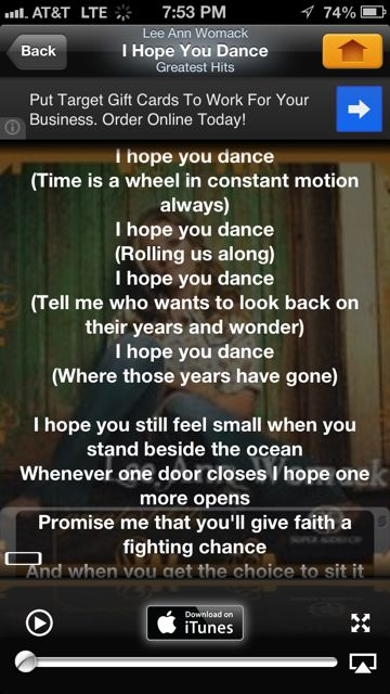 Screen shot of I Hope You Dance lyrics