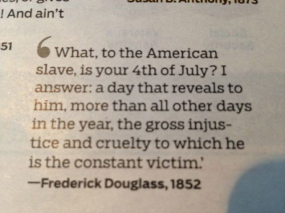 Frederick Douglas quote on slavery from 1852