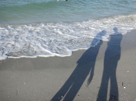two shadows on the beach