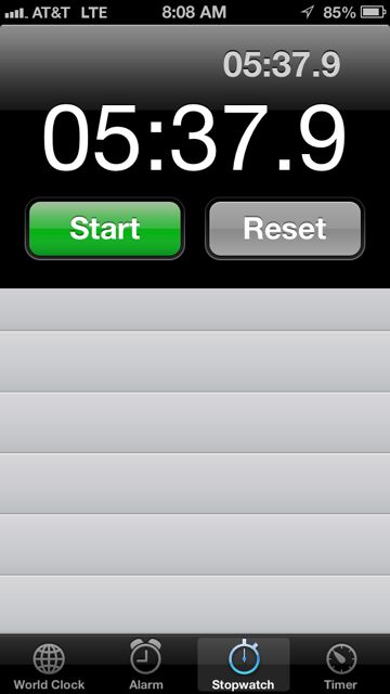 One mile time for M50-54