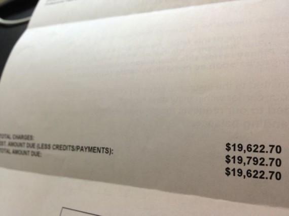 Photo of hernia repair bill totaling almost $20k