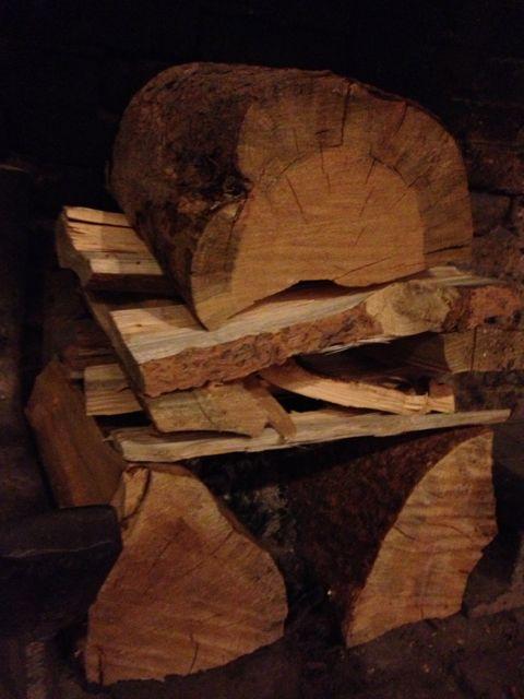 Fire logs set in Lake McDonald Lodge fireplace