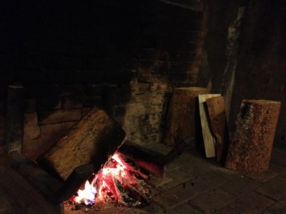 Lake McDonald Lodge fireplace fire