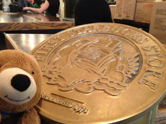 Teddy Bear at First Starbucks store plague