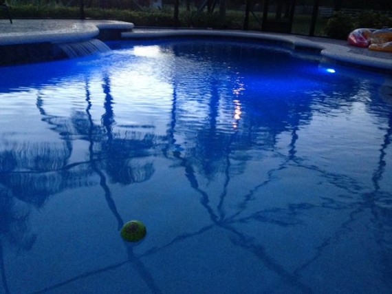 Florida homeowner pool at dusk