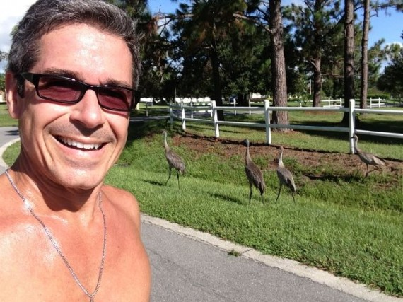 jeff noel running next to Florida Sand Hill cranes