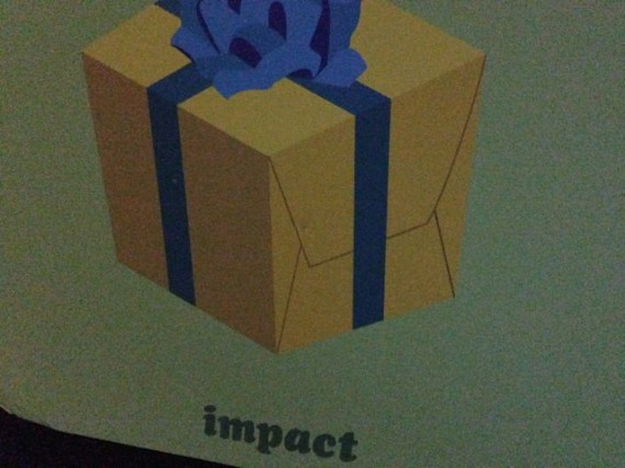 painting of a gift wrapped box