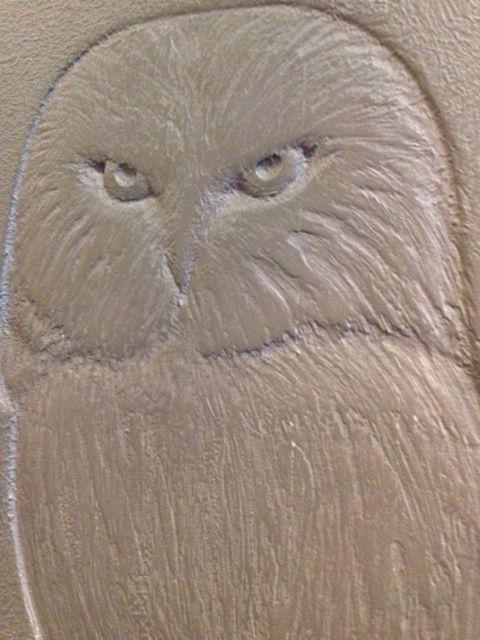 Owl sketched in metal