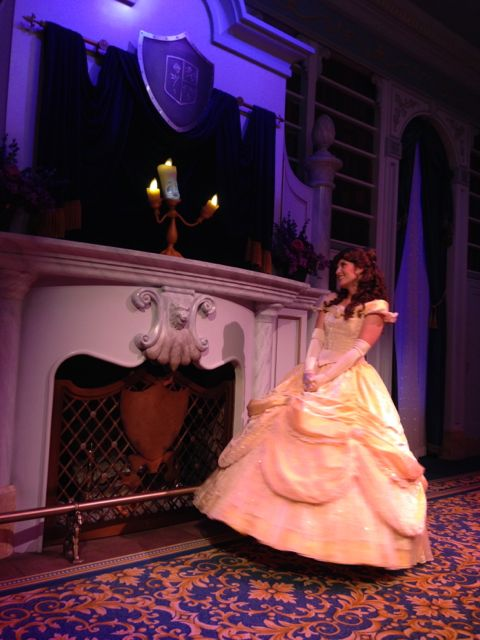 Belle and Lumiere at intimate Disney character greeting