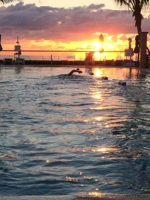 Lap pool at The Breakers at sunrise