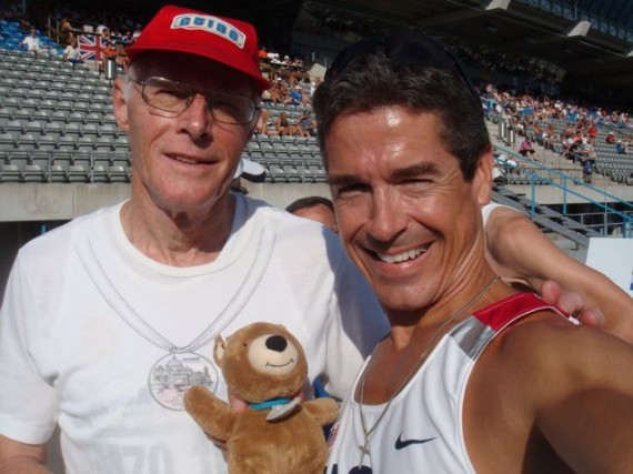 Guido Muller (L), Germany M70-74 400m world record holder with, Jack (C) and jeff noel (R)