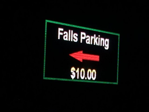 Niagara Falls parking sign at night