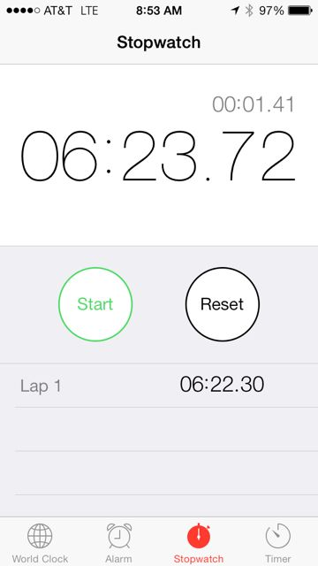 Screen shot of mile time