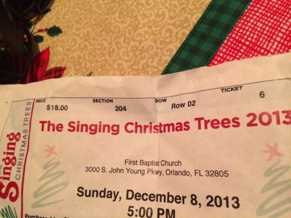 2013 Singing Christmas Trees ticket