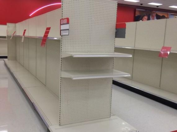 empty Target shelves