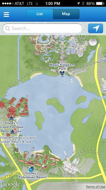 GPS from Disney monorail at Polynesian Resort
