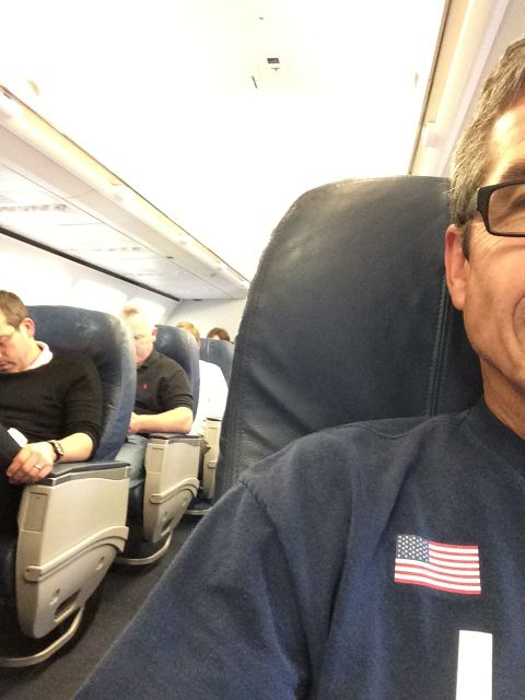 jeff noel sitting in Delta first class