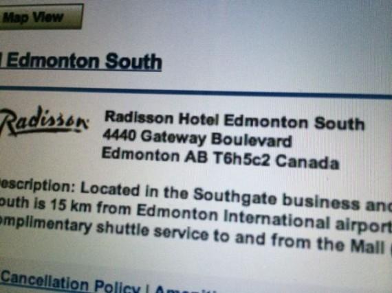 Radisson Edmonton web site