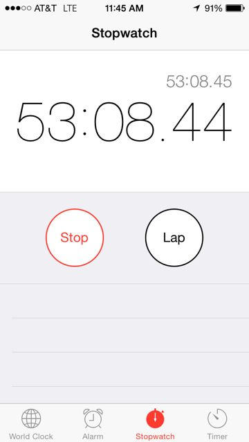 iPhone stopwatch for runners