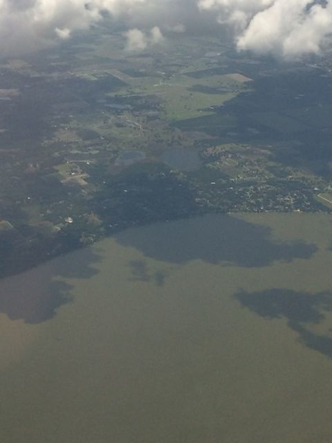 Central Florida Lake and clouds from Delta jet
