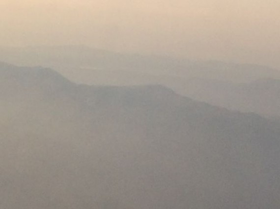 Southern California mountains at dusk from Delta jet