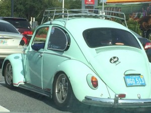 Light blue antique VW Bug near Disney World